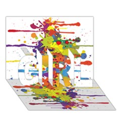 Crazy Multicolored Double Running Splashes Girl 3d Greeting Card (7x5)