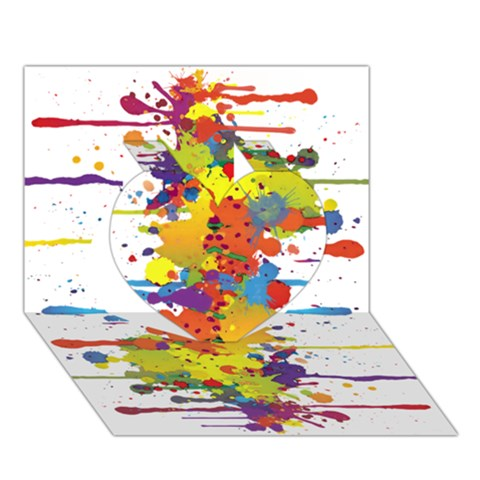 Crazy Multicolored Double Running Splashes Heart 3D Greeting Card (7x5)
