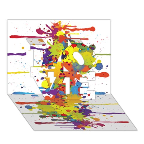 Crazy Multicolored Double Running Splashes LOVE 3D Greeting Card (7x5)