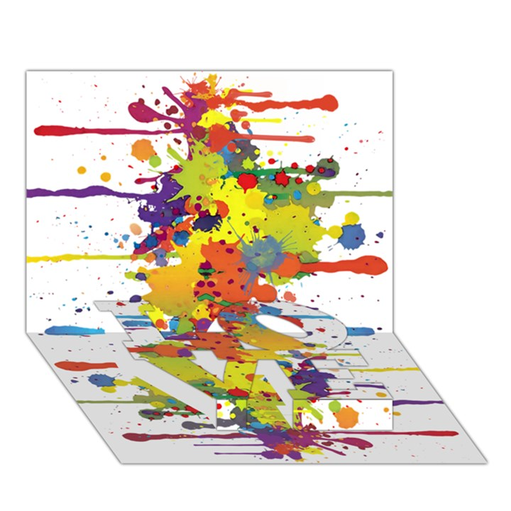 Crazy Multicolored Double Running Splashes LOVE Bottom 3D Greeting Card (7x5)
