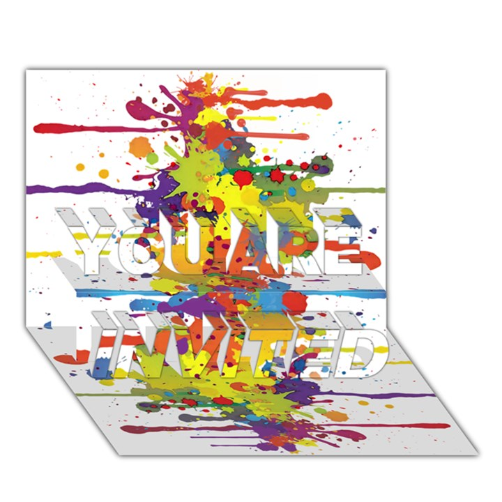 Crazy Multicolored Double Running Splashes YOU ARE INVITED 3D Greeting Card (7x5)