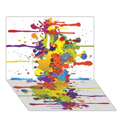 Crazy Multicolored Double Running Splashes Apple 3D Greeting Card (7x5)