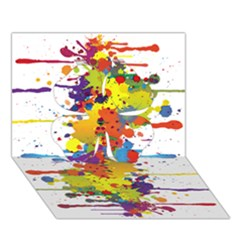 Crazy Multicolored Double Running Splashes Clover 3D Greeting Card (7x5)