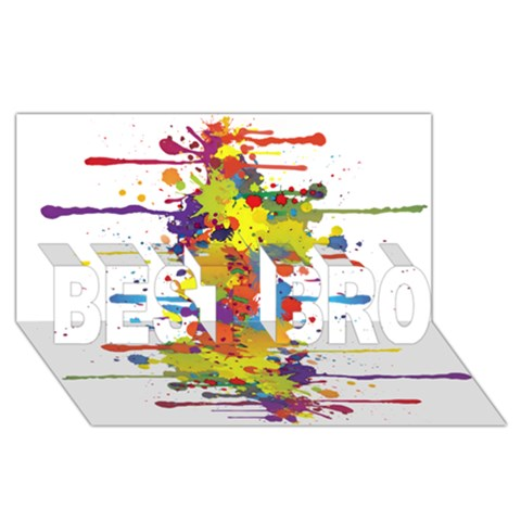 Crazy Multicolored Double Running Splashes BEST BRO 3D Greeting Card (8x4)