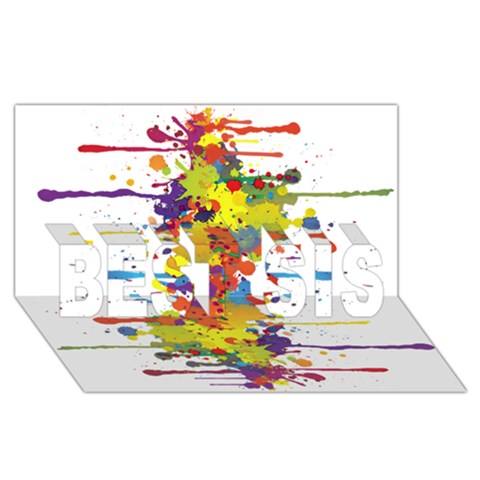 Crazy Multicolored Double Running Splashes BEST SIS 3D Greeting Card (8x4)