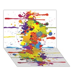 Crazy Multicolored Double Running Splashes Circle 3D Greeting Card (7x5)