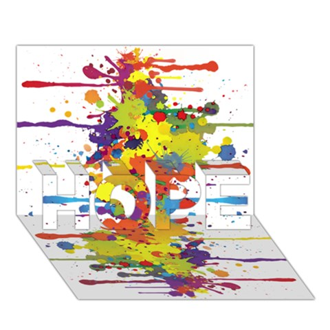 Crazy Multicolored Double Running Splashes HOPE 3D Greeting Card (7x5)