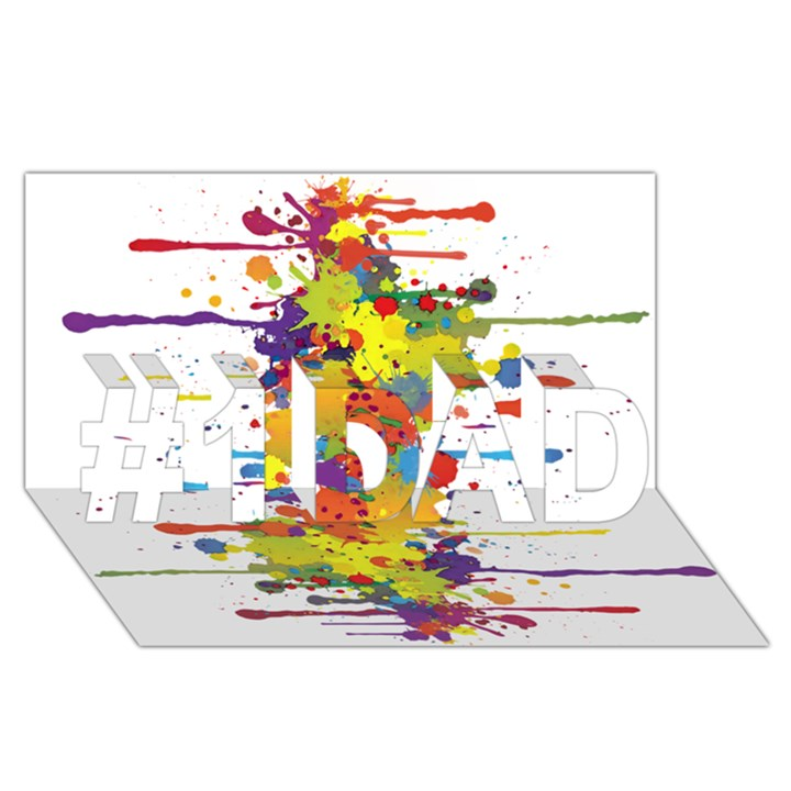 Crazy Multicolored Double Running Splashes #1 DAD 3D Greeting Card (8x4)
