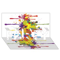 Crazy Multicolored Double Running Splashes Party 3d Greeting Card (8x4)