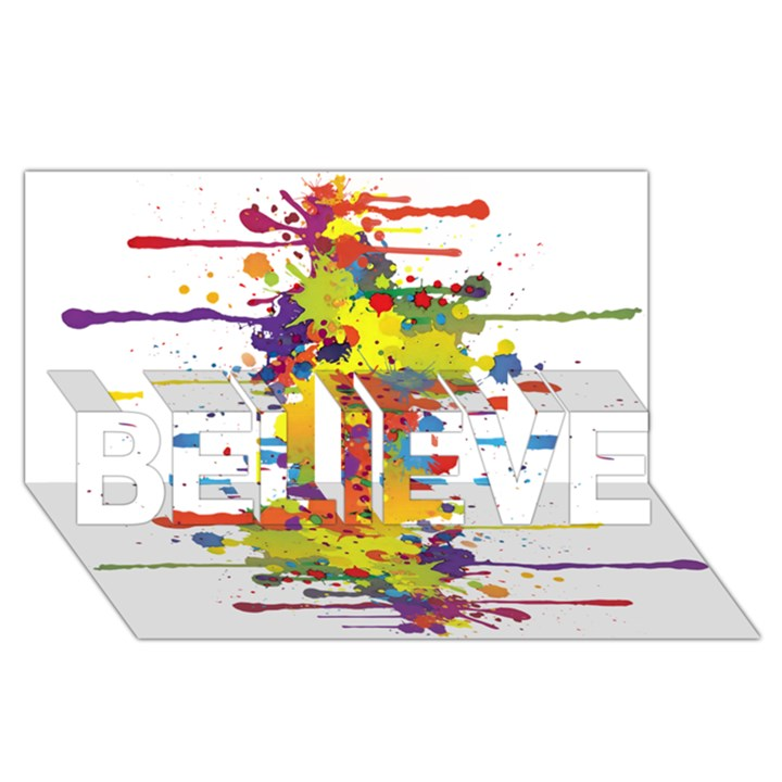 Crazy Multicolored Double Running Splashes BELIEVE 3D Greeting Card (8x4)