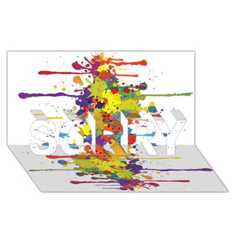 Crazy Multicolored Double Running Splashes SORRY 3D Greeting Card (8x4)