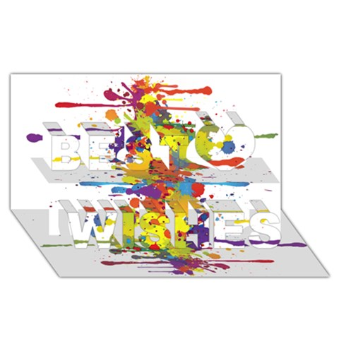 Crazy Multicolored Double Running Splashes Best Wish 3D Greeting Card (8x4)