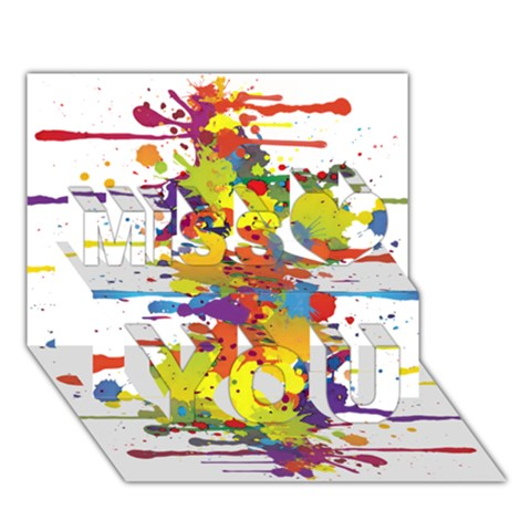 Crazy Multicolored Double Running Splashes Miss You 3D Greeting Card (7x5)