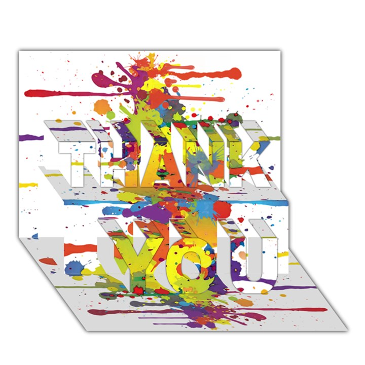 Crazy Multicolored Double Running Splashes THANK YOU 3D Greeting Card (7x5)