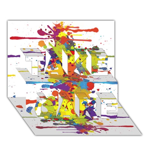 Crazy Multicolored Double Running Splashes TAKE CARE 3D Greeting Card (7x5)