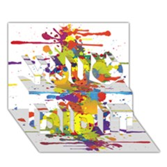 Crazy Multicolored Double Running Splashes You Did It 3D Greeting Card (7x5)