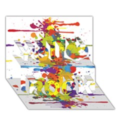 Crazy Multicolored Double Running Splashes You Rock 3D Greeting Card (7x5)