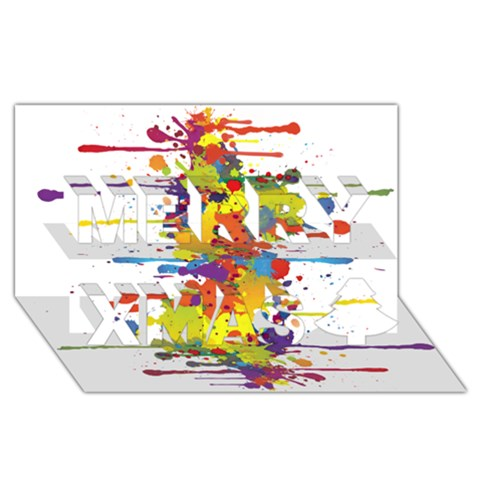 Crazy Multicolored Double Running Splashes Merry Xmas 3D Greeting Card (8x4)