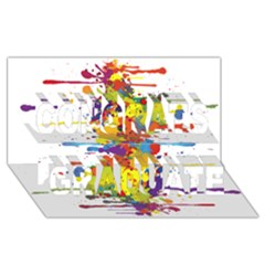 Crazy Multicolored Double Running Splashes Congrats Graduate 3D Greeting Card (8x4)