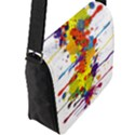 Crazy Multicolored Double Running Splashes Flap Messenger Bag (L)  View2
