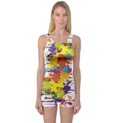 Crazy Multicolored Double Running Splashes One Piece Boyleg Swimsuit