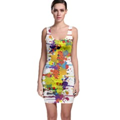 Crazy Multicolored Double Running Splashes Sleeveless Bodycon Dress