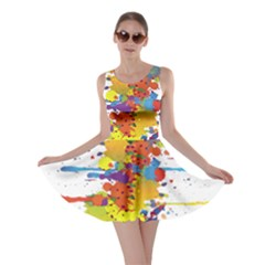 Crazy Multicolored Double Running Splashes Skater Dress