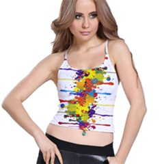 Crazy Multicolored Double Running Splashes Spaghetti Strap Bra Top