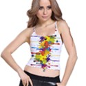 Crazy Multicolored Double Running Splashes Spaghetti Strap Bra Top View1