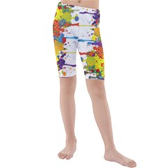 Crazy Multicolored Double Running Splashes Kids  Mid Length Swim Shorts