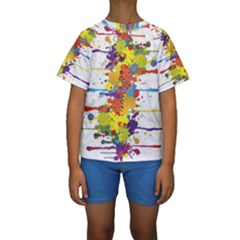 Crazy Multicolored Double Running Splashes Kids  Short Sleeve Swimwear