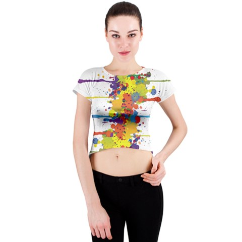 Crazy Multicolored Double Running Splashes Crew Neck Crop Top