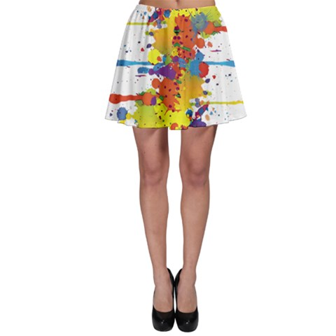 Crazy Multicolored Double Running Splashes Skater Skirt