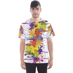 Crazy Multicolored Double Running Splashes Men s Sport Mesh Tee