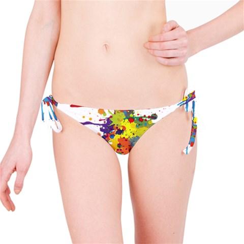 Crazy Multicolored Double Running Splashes Bikini Bottom