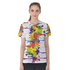 Crazy Multicolored Double Running Splashes Women s Cotton Tee