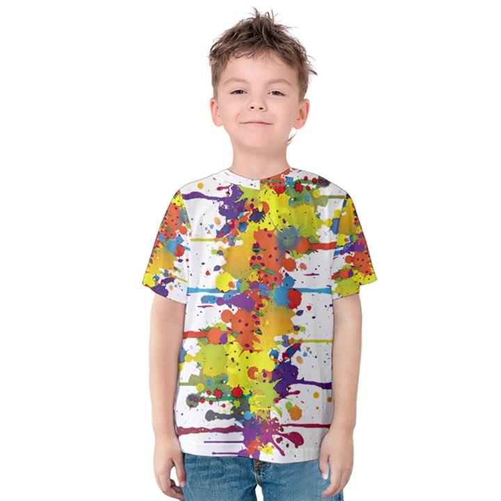 Crazy Multicolored Double Running Splashes Kids  Cotton Tee