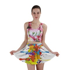 Crazy Multicolored Double Running Splashes Mini Skirt
