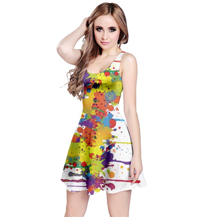 Crazy Multicolored Double Running Splashes Reversible Sleeveless Dress