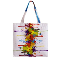 Crazy Multicolored Double Running Splashes Grocery Tote Bag
