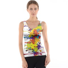 Crazy Multicolored Double Running Splashes Tank Top