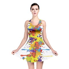 Crazy Multicolored Double Running Splashes Reversible Skater Dress