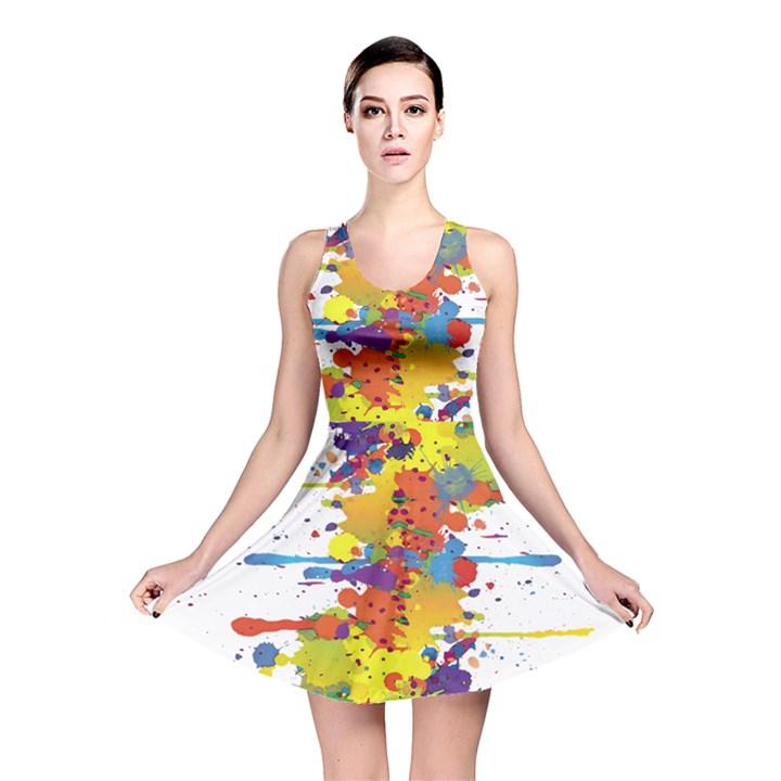 Crazy Multicolored Double Running Splashes Reversible Skater Dress