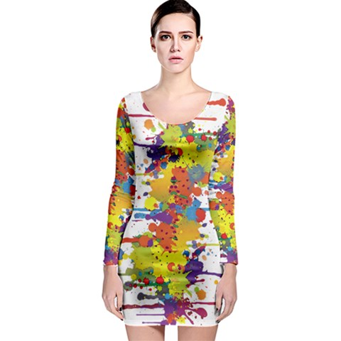 Crazy Multicolored Double Running Splashes Long Sleeve Bodycon Dress