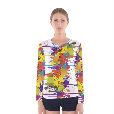 Crazy Multicolored Double Running Splashes Women s Long Sleeve Tee