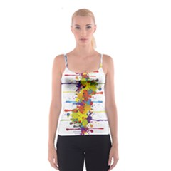 Crazy Multicolored Double Running Splashes Spaghetti Strap Top
