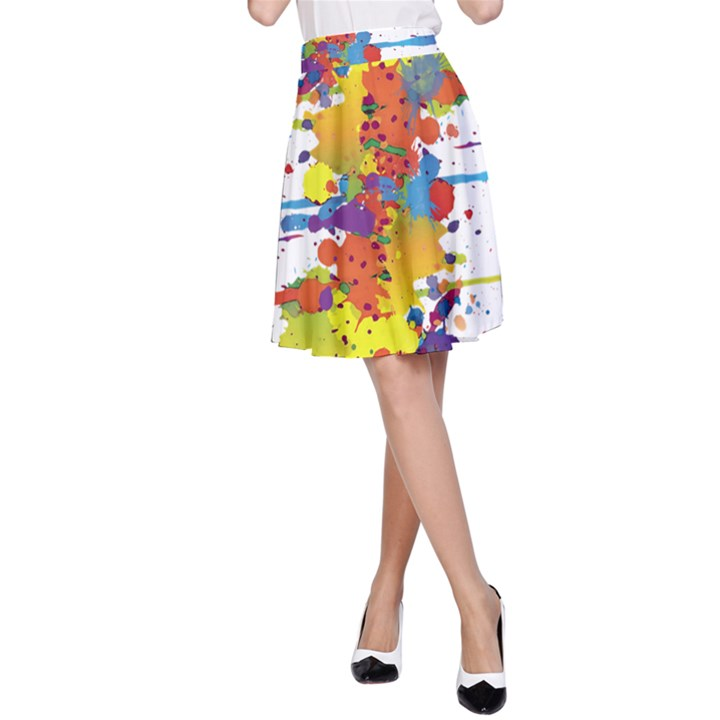 Crazy Multicolored Double Running Splashes A-Line Skirt