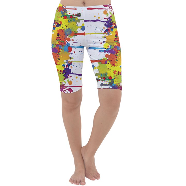 Crazy Multicolored Double Running Splashes Cropped Leggings