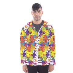 Crazy Multicolored Double Running Splashes Hooded Wind Breaker (Men)
