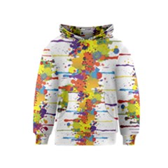 Crazy Multicolored Double Running Splashes Kids  Pullover Hoodie
